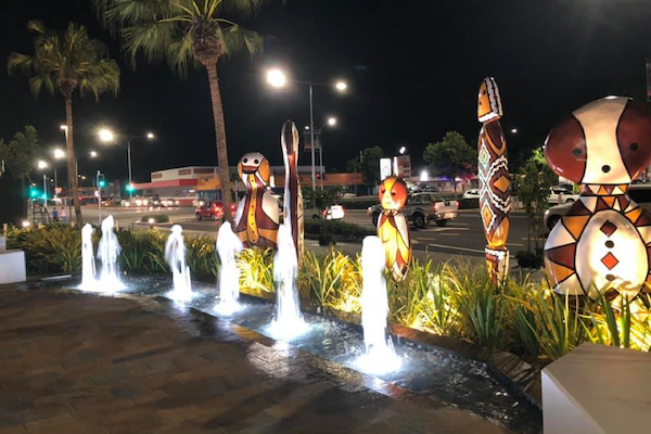 Cairns-Performing-Arts-Centre-Water-Feature-At-Night-3-Outdoor-Solutions-Queensland-Cairns-Landscaping